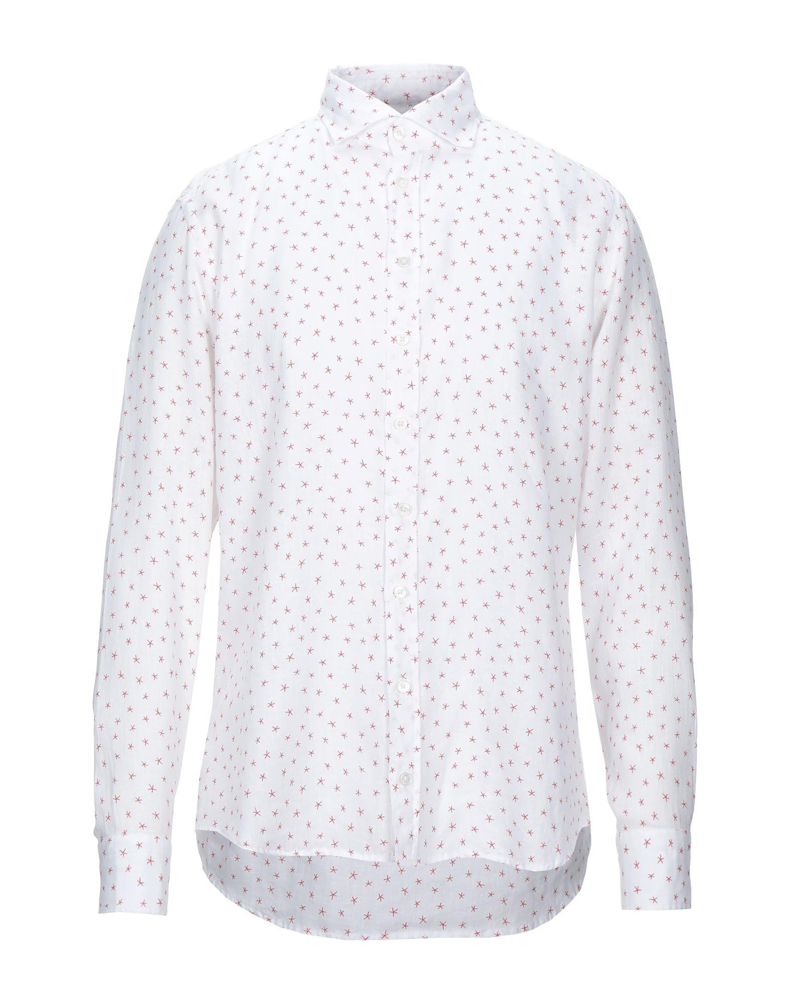 《セール開催中》BASTONCINO メンズ シャツ ホワイト 42 リネン 100%