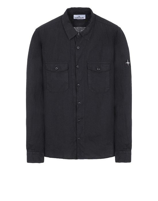 STONE ISLAND 12001 'FISSATO' TREATMENT Long sleeve shirt Man Black