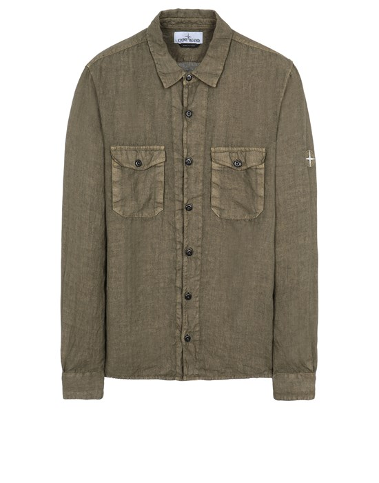 STONE ISLAND 12001 'FISSATO' TREATMENT Long sleeve shirt Man Olive Green