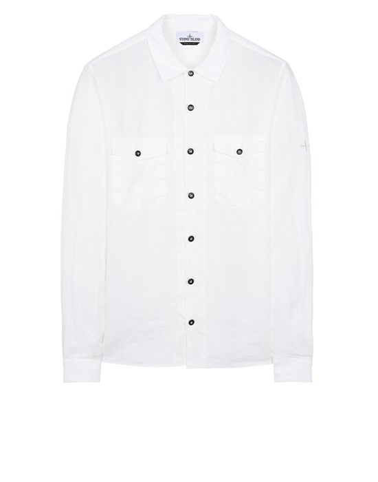 STONE ISLAND 12001 'FISSATO' TREATMENT Long sleeve shirt Man White