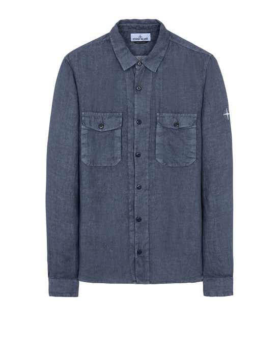 STONE ISLAND 12001 'FISSATO' TREATMENT Long sleeve shirt Man Avio Blue