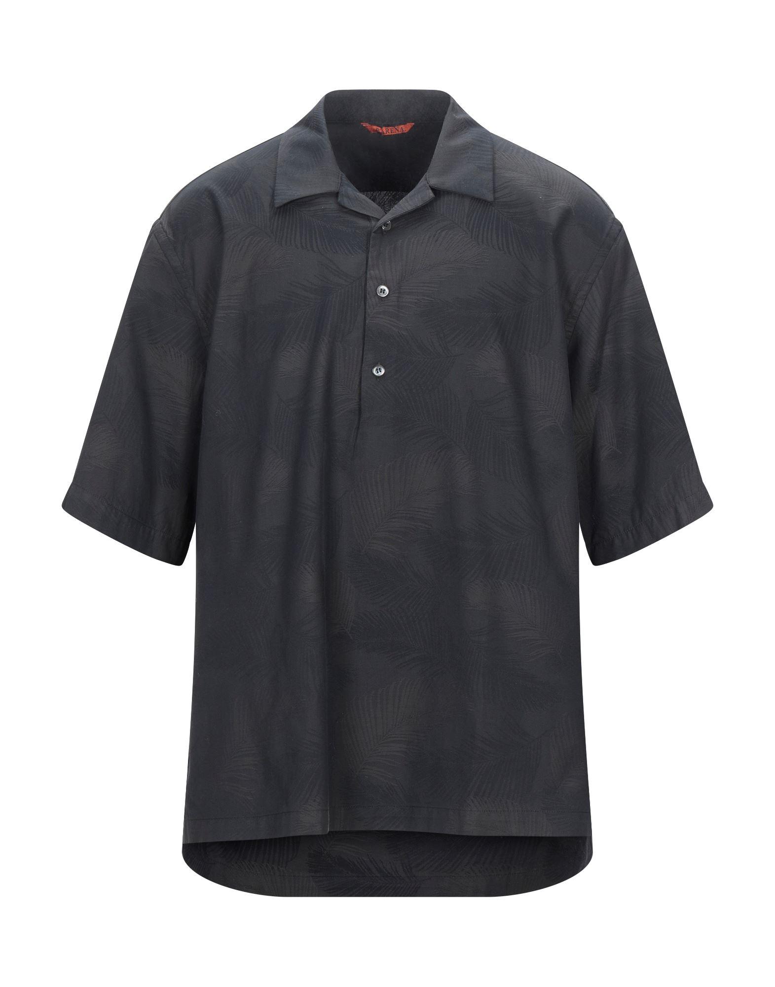 《セール開催中》BARENA メンズ シャツ ブラック 48 コットン 100%