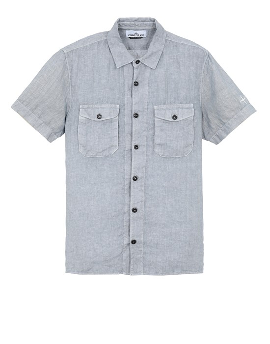 STONE ISLAND 12701 'FISSATO' TREATMENT  Short sleeve shirt Man Pastel Blue