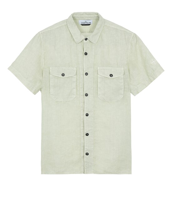 STONE ISLAND 12701 'FISSATO' TREATMENT  Short sleeve shirt Man Light Green