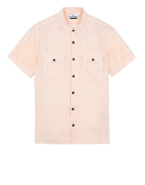 STONE ISLAND 12701 'FISSATO' TREATMENT  Short sleeve shirt Man Pastel pink