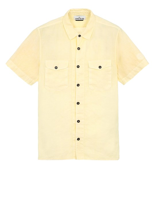 STONE ISLAND 12701 'FISSATO' TREATMENT  Short sleeve shirt Man Lemon