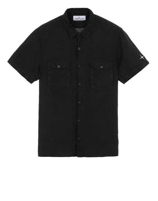STONE ISLAND 12701 'FISSATO' TREATMENT  Short sleeve shirt Man Black