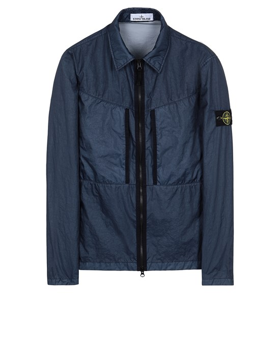 STONE ISLAND 10523 MEMBRANA 3L TC  Over Shirt Man Avio Blue
