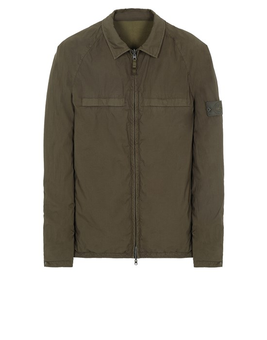 STONE ISLAND 119F4 GHOST PIECE_STRETCH COTTON TELA / RESIN TREATED NYLON - REVERSIBLE Overshirt Uomo Verde militare