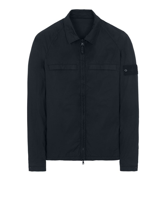 STONE ISLAND 119F4 GHOST PIECE_STRETCH COTTON TELA / RESIN TREATED NYLON - REVERSIBLE Over Shirt Man Dark blue