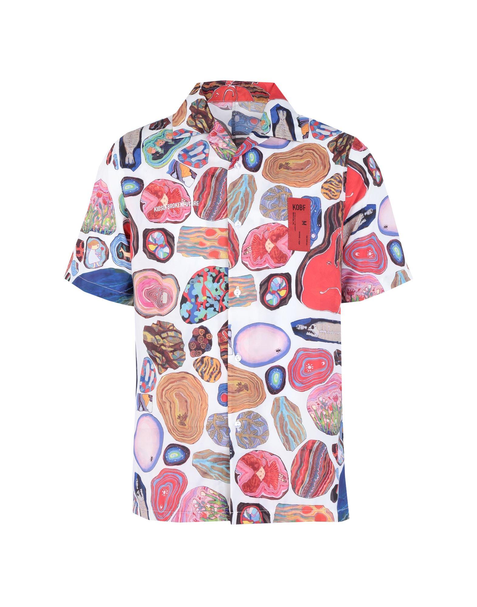 《セール開催中》KIDSOFBROKENFUTURE メンズ シャツ ホワイト S リサイクルポリエステル 100% SERAFIN SHIRT FOSSIL
