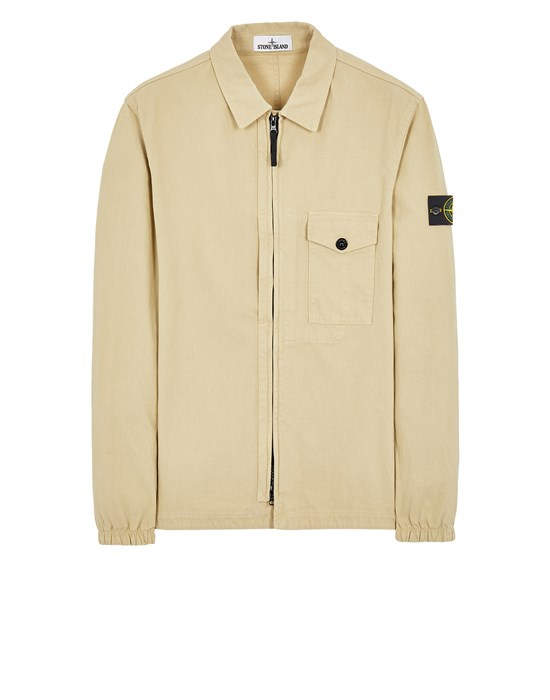 STONE ISLAND 10704 TEXTURED BRUSHED RECYCLED COTTON Over Shirt Man Ecru
