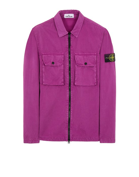 STONE ISLAND 113WN BRUSHED COTTON CANVAS_'OLD' EFFECT Over Shirt Herr Magenta