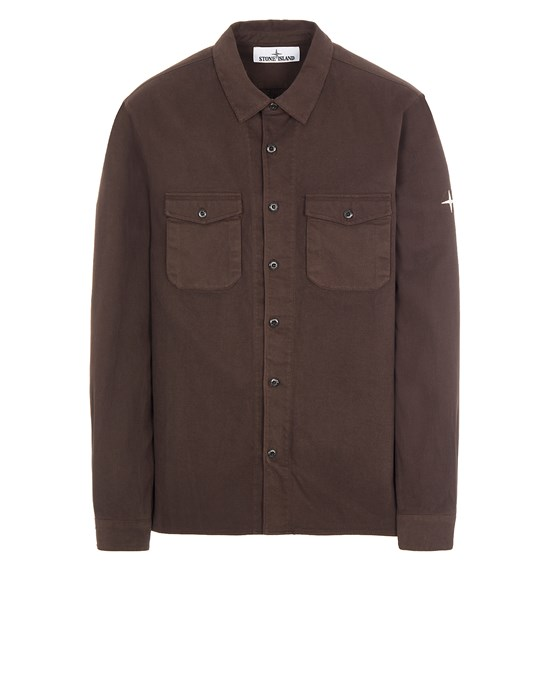 STONE ISLAND 12004 TEXTURED BRUSHED RECYCLED COTTON Long sleeve shirt Man Dark Brown