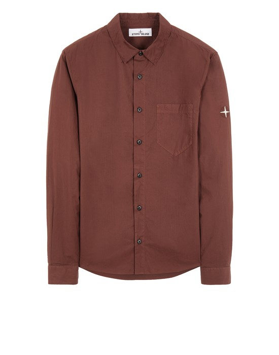 STONE ISLAND 12501 LIGHT COTTON TELA 'PARACADUTE' Long sleeve shirt Man MAHOGANY BROWN