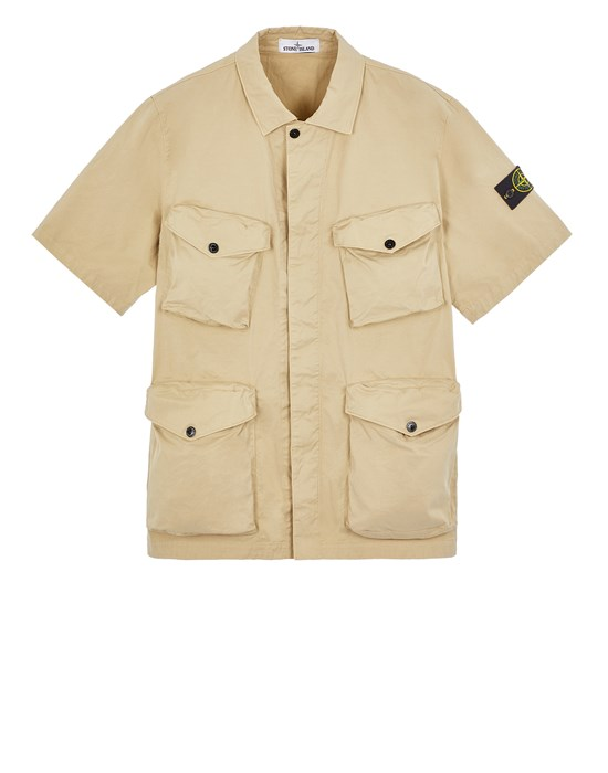 STONE ISLAND 10210 STRETCH COTTON GABARDINE Over Shirt Herr Ecru
