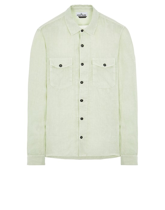 STONE ISLAND 12001 'FISSATO' TREATMENT Long sleeve shirt Man Light Green