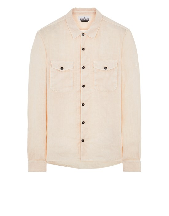 STONE ISLAND 12001 'FISSATO' TREATMENT Long sleeve shirt Man Pastel pink