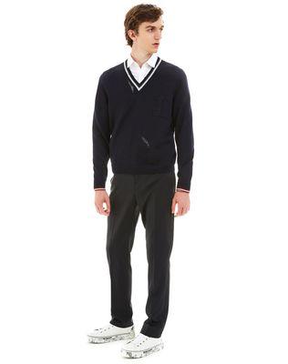 LANVIN OPENWORK V-NECK SWEATER Knitwear & Sweaters U e
