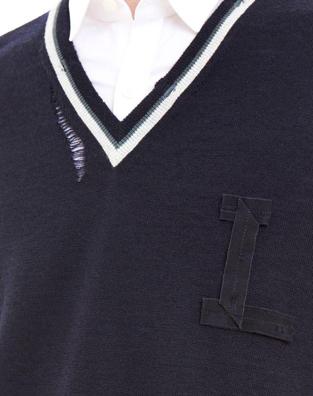 LANVIN OPENWORK V-NECK SWEATER Knitwear & Sweaters U a