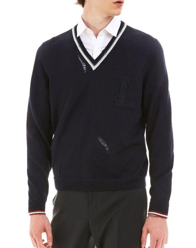 LANVIN OPENWORK V-NECK SWEATER Knitwear & Sweaters U f