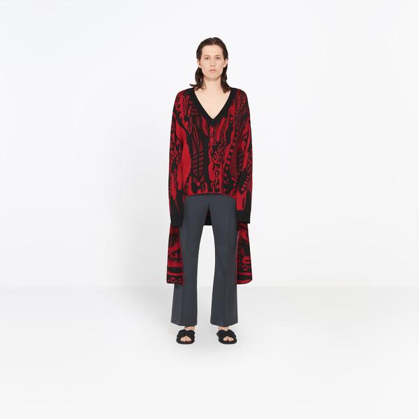 Langarm-Pullover mit V-Ausschnitt
