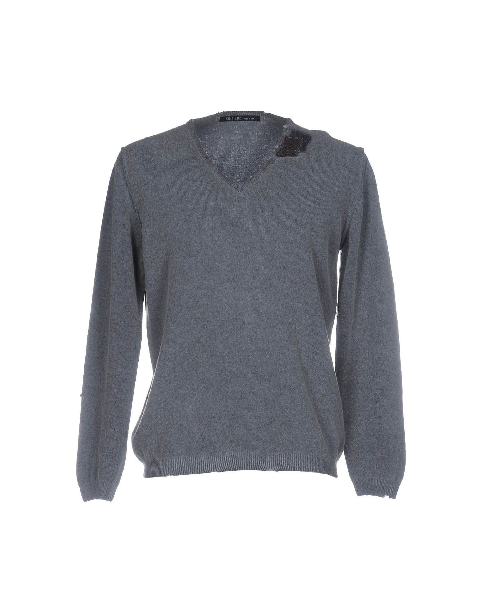 KNIT LAB Свитер v neckline fur cuff texture knit sweater