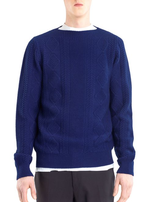 lanvin mixed stitch crew neck sweater men