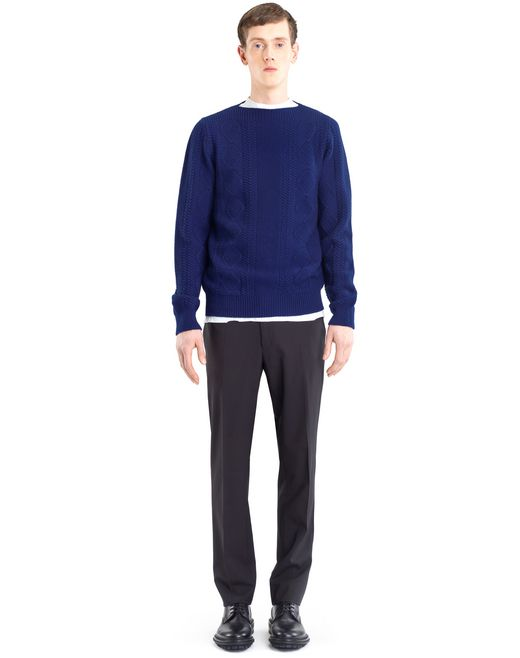 lanvin mixed stitch crew neck jumper men