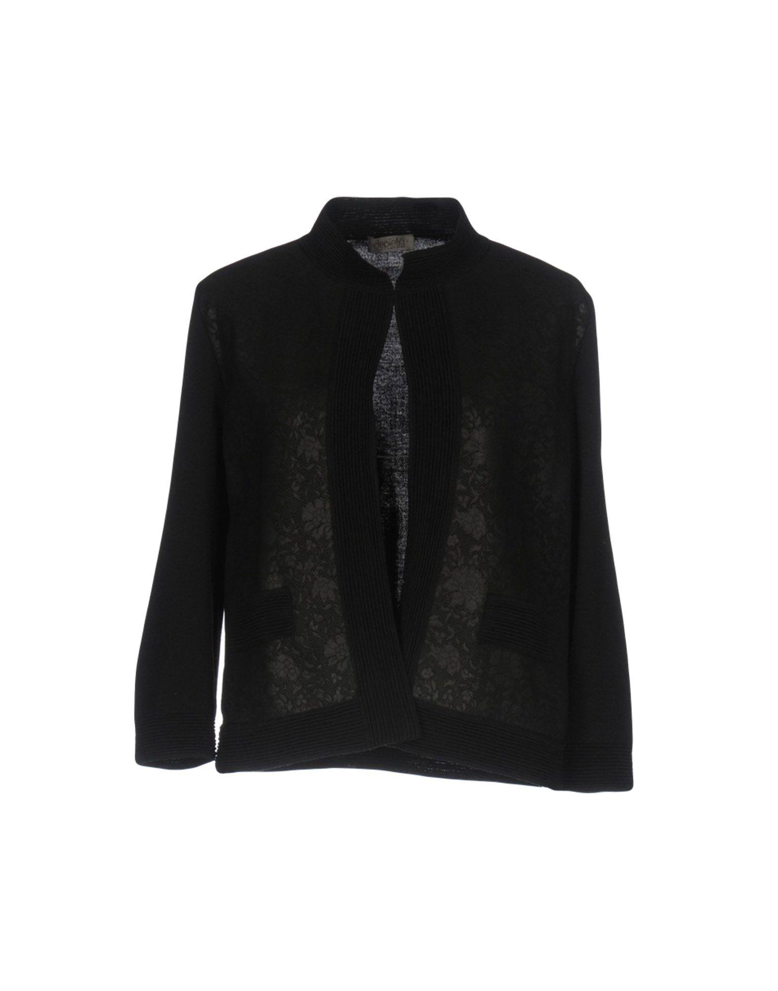 DE PIETRI Damen Strickjacke Farbe Schwarz Größe 4 - broschei
