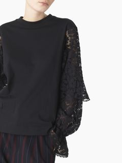 Lace-sleeved top