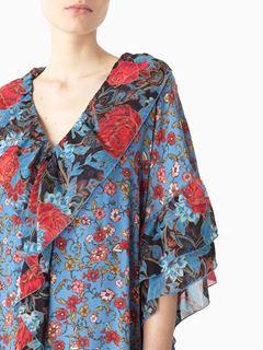 Robe caftan en soie imprimée