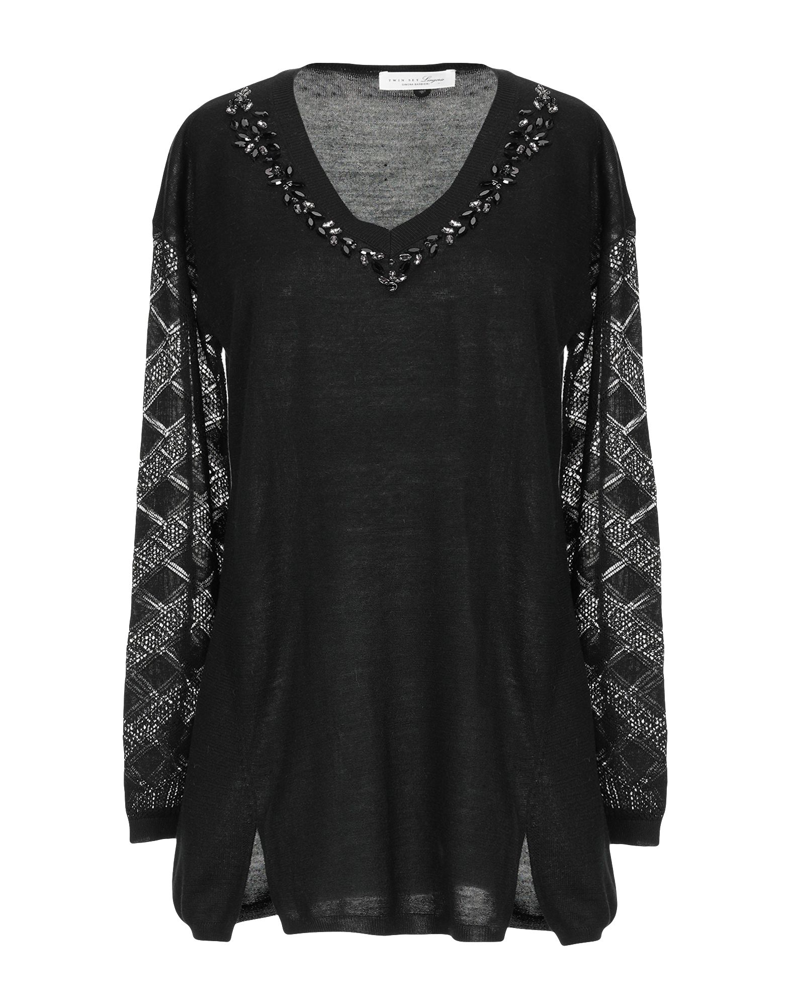 TWIN-SET LINGERIE Свитер black sexy v neck lace up design cut out lingerie set