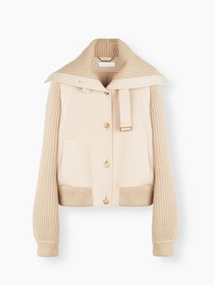 Ribbed-trim jacket