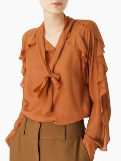 Flouncy crepe de chine blouse