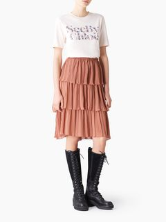 Pleated tiered skirt