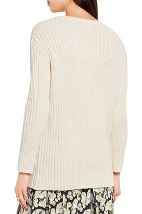 ADAM LIPPES Ribbed silk and linen-blend sweater