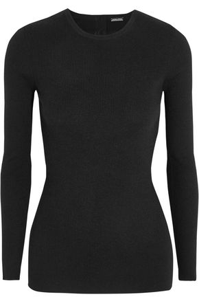 ADAM LIPPES Open-back ribbed stretch-cashmere sweater