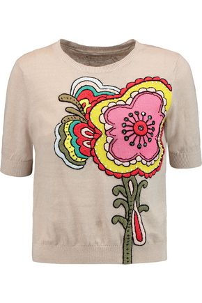 ALICE + OLIVIA Embroidered linen and cotton-blend top