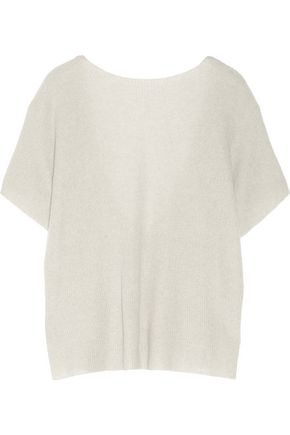 HELMUT LANG Open-back ribbed cashmere and linen-blend sweater