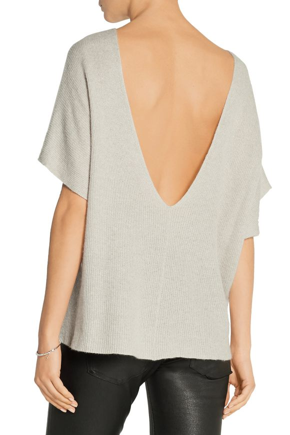 Open-back ribbed cashmere and linen-blend sweater | HELMUT LANG | Sale up  to 70% off | THE OUTNET