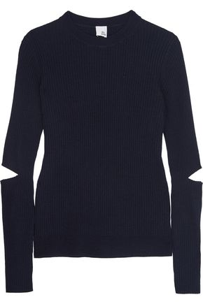 IRIS AND INK Cutout ribbed merino wool sweater