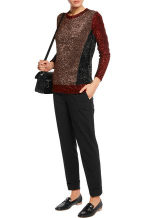 MARKUS LUPFER Paneled stretch  bouclé-knit sweater