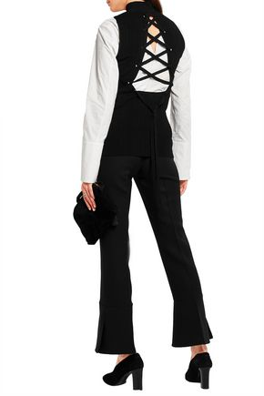 PROENZA SCHOULER Lace-up ribbed-knit top