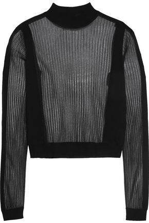 MAISON MARGIELA Paneled ribbed wool-blend sweater