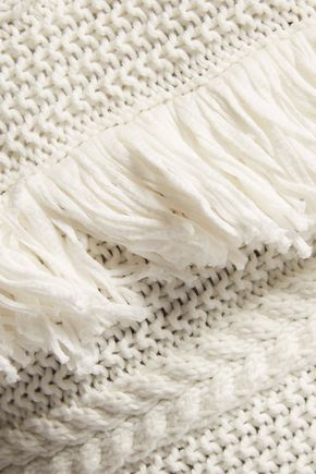 VINCE. Fringed open-knit cotton vest