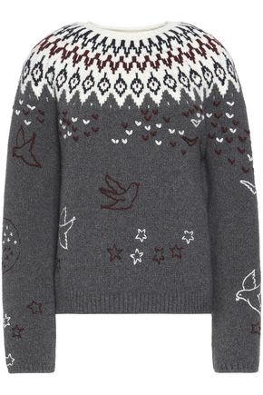 NINA RICCI Embroidered wool-blend intarsia sweater