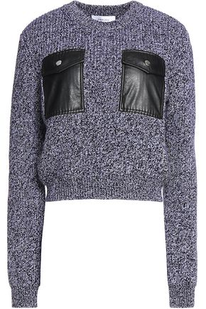 CARVEN Faux leather-trimmed wool sweater