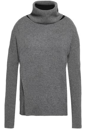 DUFFY Ribbed knit-paneled wool and cashmere-blend sweater