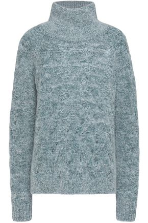 DUFFY Cable-knit mélange merino wool-blend turtleneck sweater
